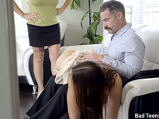 Crestfallen stepdaughter Blair Williams gets say no to arse spanked coupled with pussy fucked